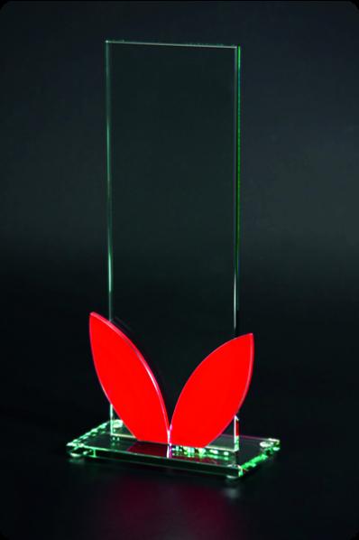 Plakieta prostokątna z czerwonym szkłem
