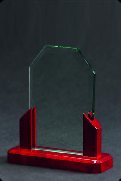 Plakietka szklana z elementami drewnianymi