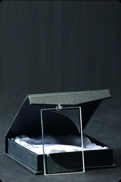 Szklany medal prostokątny