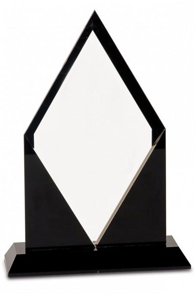 Statuetka w kształcie rombu ze szkłem i kamieniem
