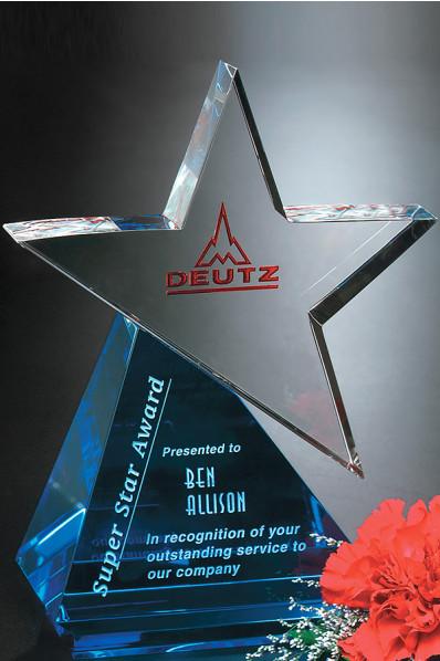 Statuetka szklana z gwiazdą