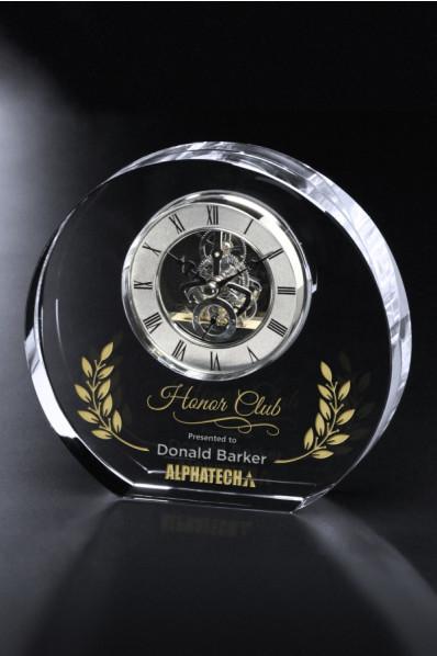 Okrągła statuetka szklana z zegarem